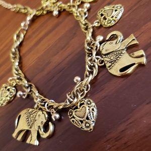Jewelry - Cute NEW Gift Boxed Elephant Charm Bracelet Gold